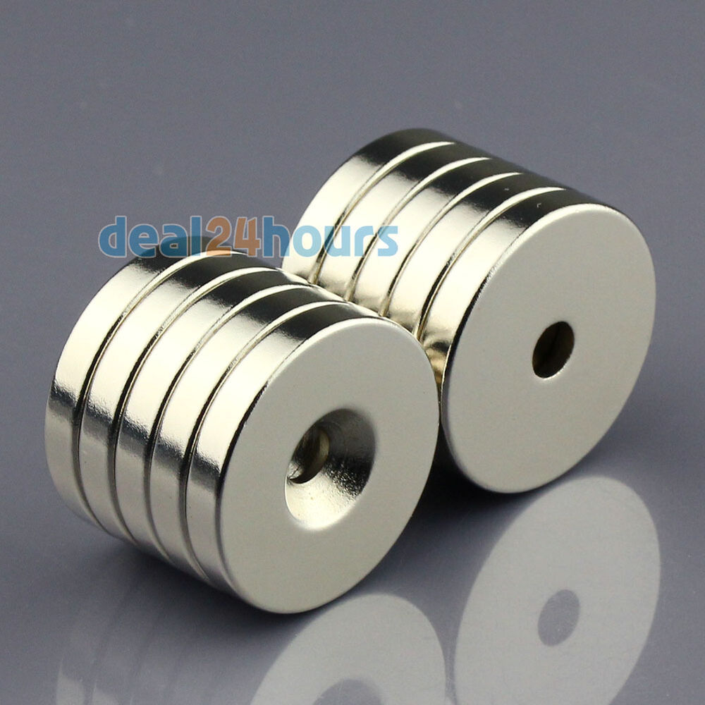 10pcs n50 strong round magnet 30mm x 5mm ring hole 5mm disc rare earth neodymium ebay. Black Bedroom Furniture Sets. Home Design Ideas