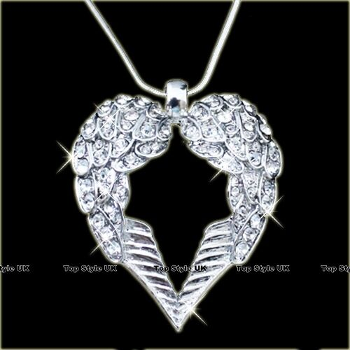 18k white gold gp angel wings crystal heart diamond necklace pendant