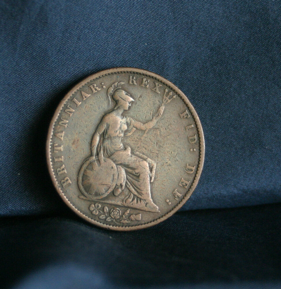 Great Britain 1/2 Penny 1834 Copper World Coin UK Seated ...