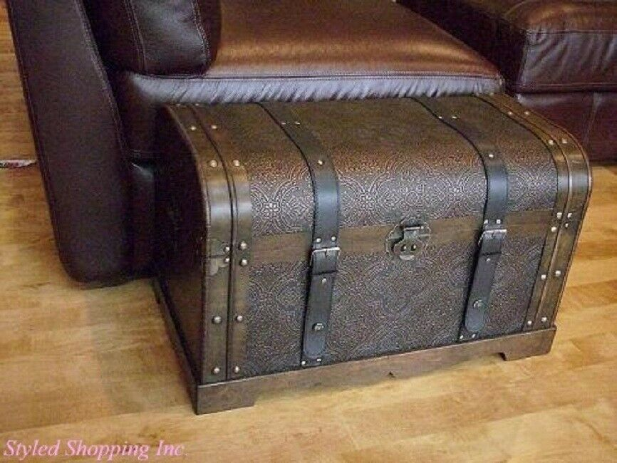 Wood Trunks And Chests ~ Antique victorian medium wood storage trunk wooden hope