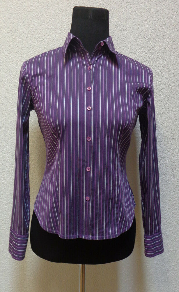 Ann taylor womens shirt small petite sp button up ls for Red and white striped button down shirt