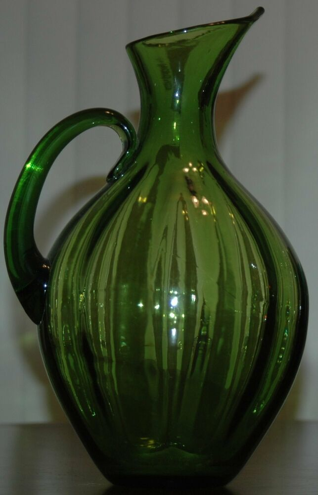 Mid Century Blenko 991 Winslow Anderson Lime Green Ribbed Pitcher Vase 13 Quot Tall Ebay