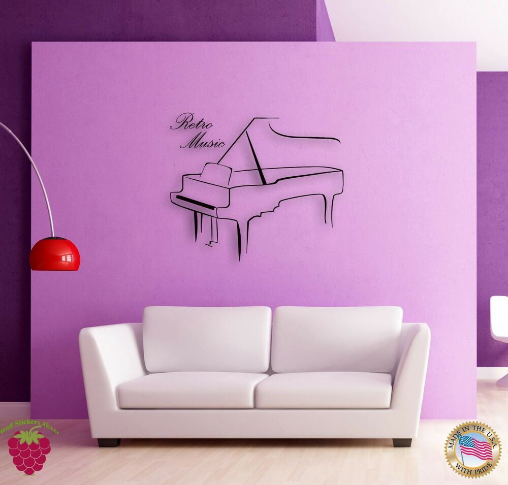 Wall sticker retro music piano classic music cool decor - Wall sticker ideas for living room ...