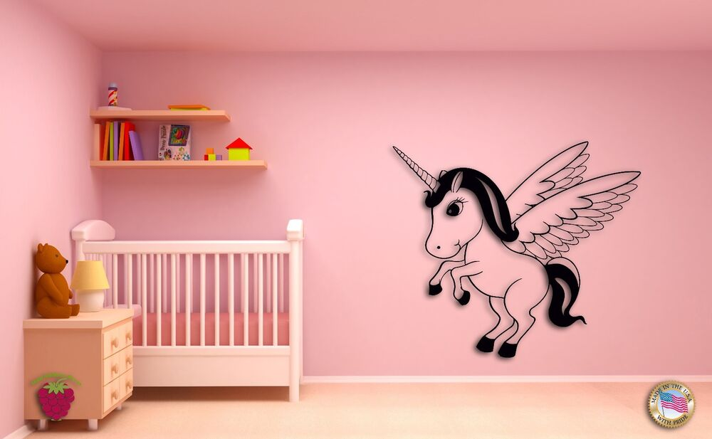 Wall sticker for kids baby unicorn with wings cool decor for Baby room sticker decoration