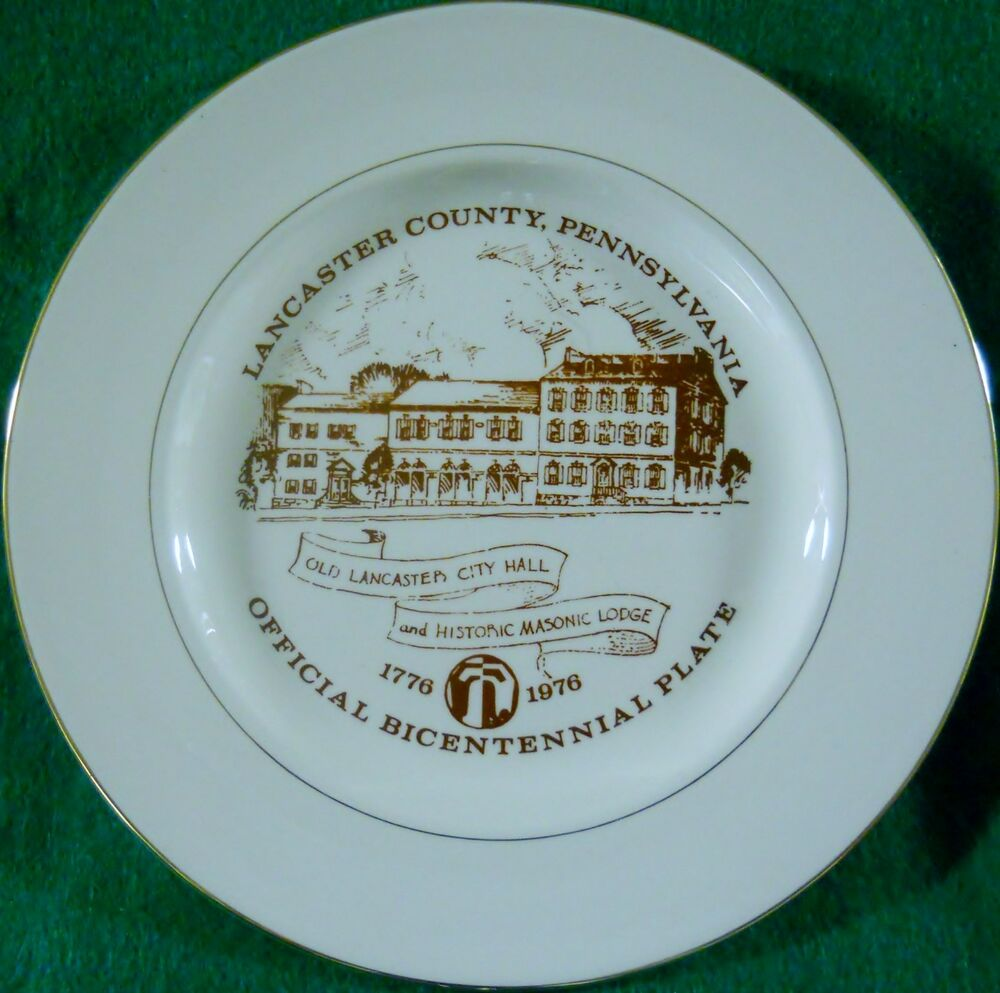Bicentennial Collector Plate Lancaster County Pa City