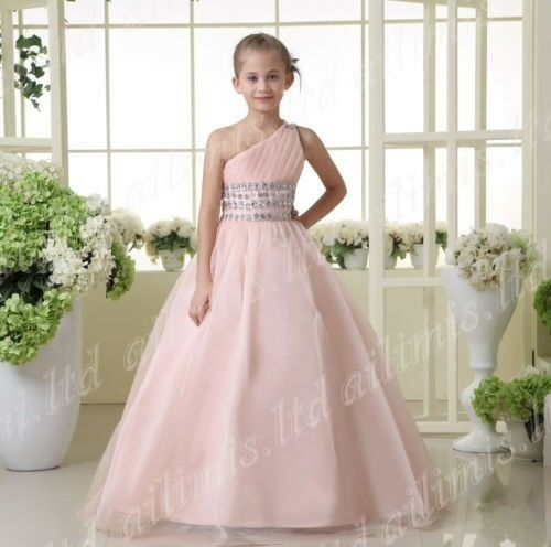 Pink One-Shoulder Ball Gowns Girls Pageant Dance Dresses