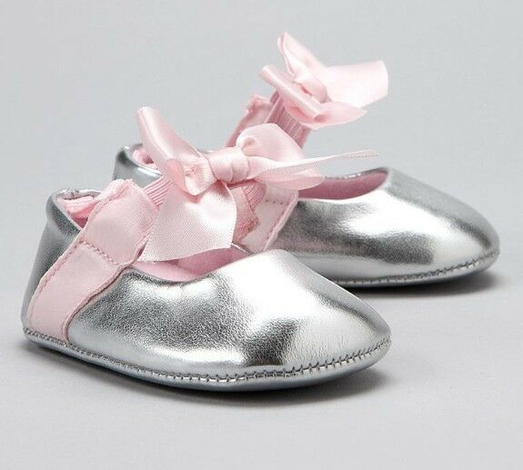 Baby Girl Darling Patent Ballerina Shoes Silver 0 9m