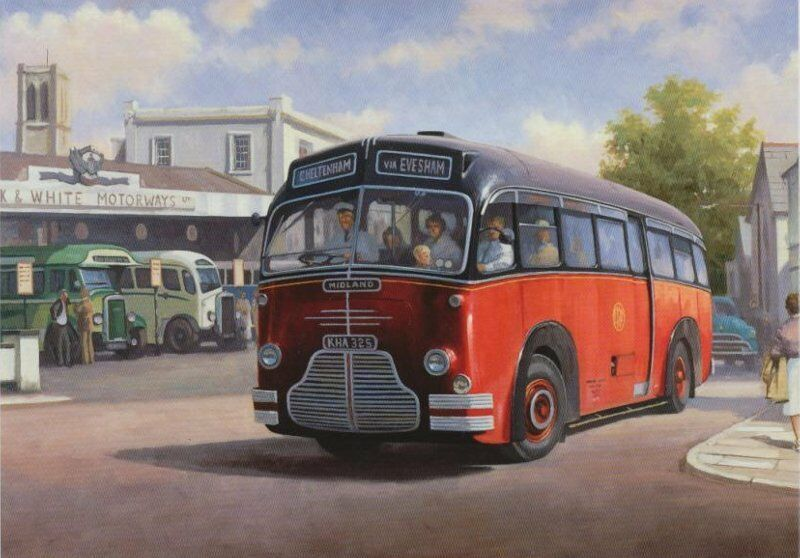 Midland Red Birmingham Evesham 1950s Bus Coach Greeting ...