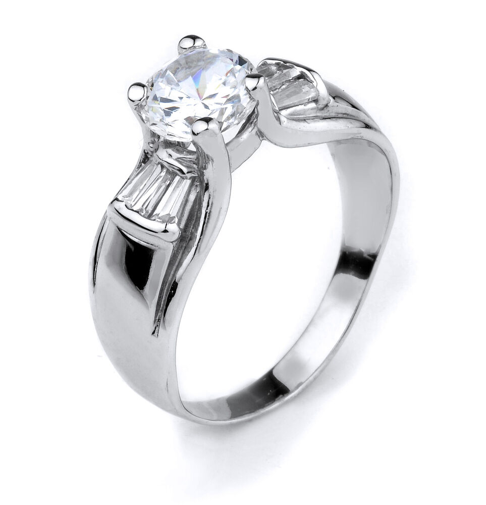 10K White Gold Round Clear CZ and Tapered Baguette CZ ...
