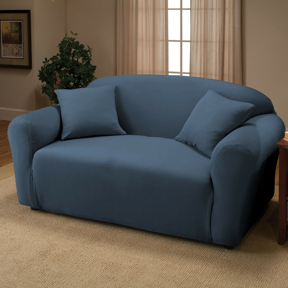 Royal blue jersey loveseat stretch slipcover couch cover furniture love seat ebay Blue loveseat slipcover