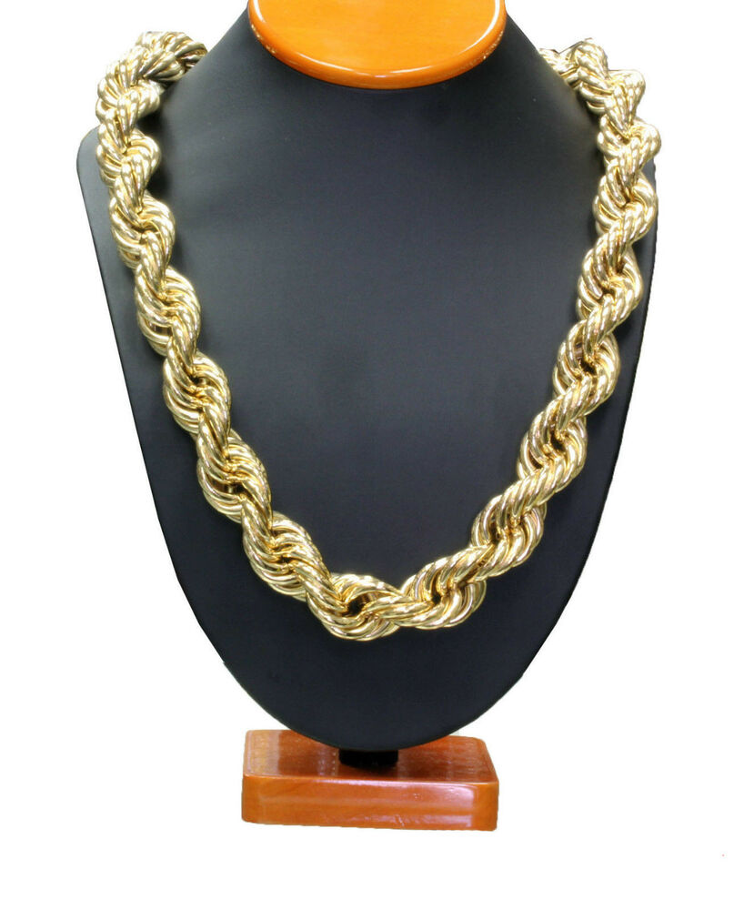 14k gold plated necklace rope chain 36 inch length thick. Black Bedroom Furniture Sets. Home Design Ideas