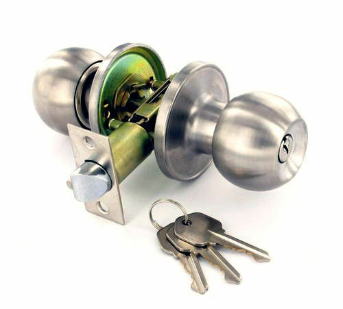 Entrance locking silver door knob set brushed for Door handle with lock