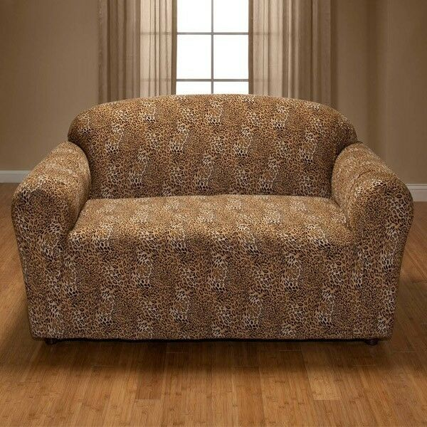 Leopard Jersey Loveseat Stretch Slipcover Couch Cover Furniture Love Seat Cover Ebay