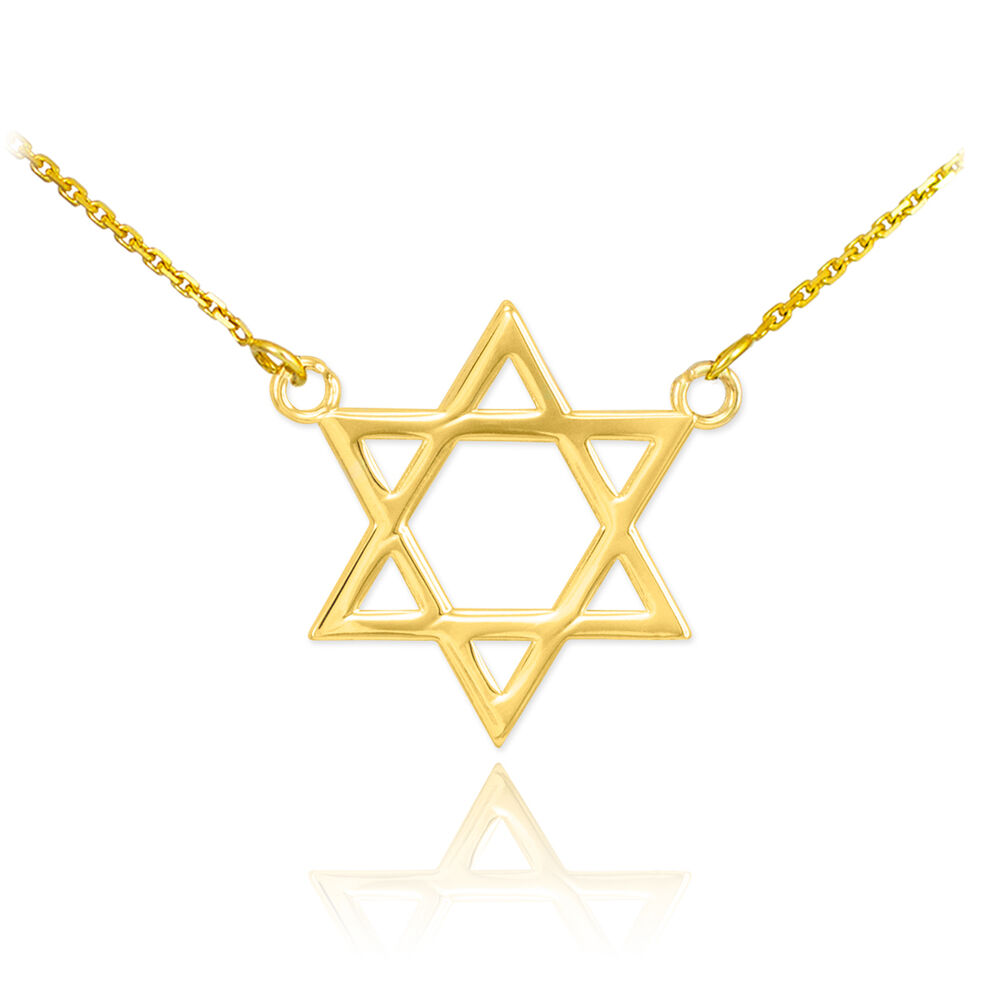 14k gold classic star of david pendant jewish charm double for Star of david necklace mens jewelry