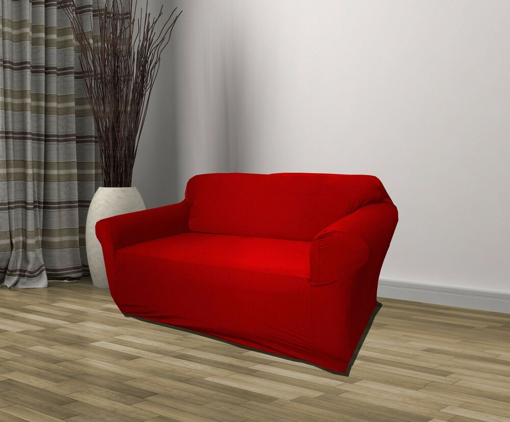 slipcover for pillow back sofa red jersey loveseat stretch s