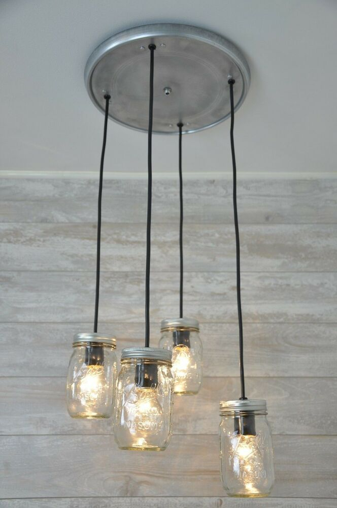 mason jar chandelier pendant light fixture beautiful rustic industrial ebay. Black Bedroom Furniture Sets. Home Design Ideas