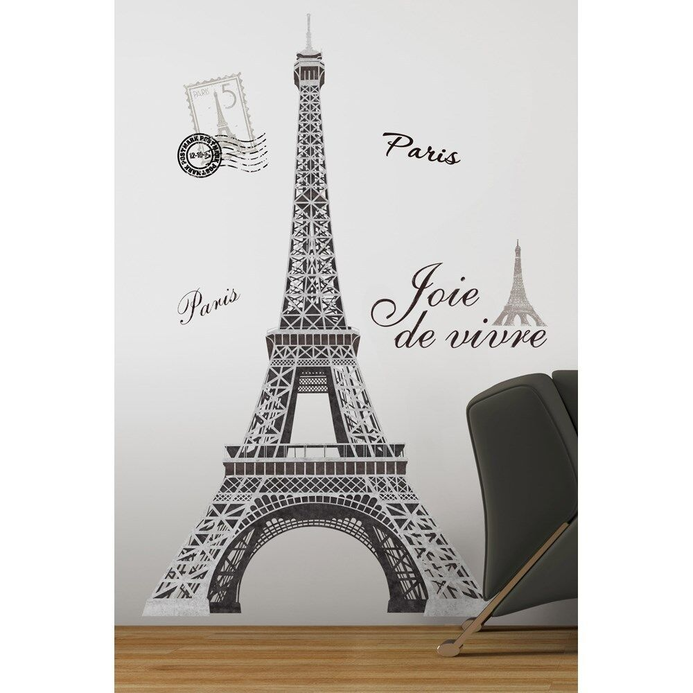 Black silver giant eiffel tower wall decals big mural stickers paris decor