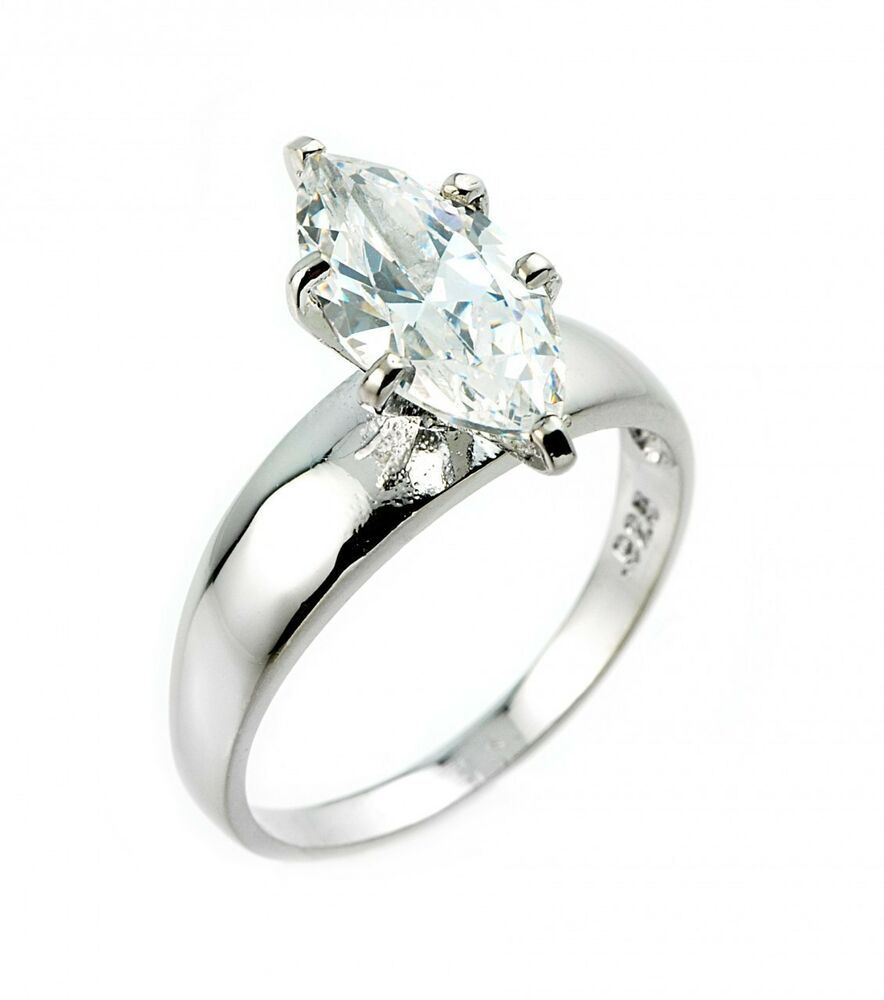 Classic Engagement Rings: Ladies 14K Classic Solid White Gold Marquise Solitaire CZ