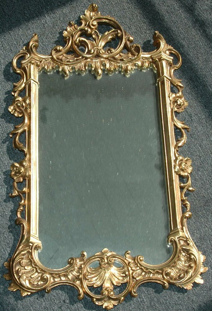 Mid Century Syroco Wood Ornate Rectangle Mirror With