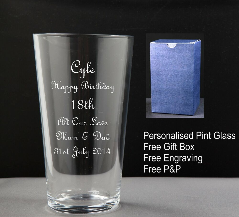 Personalised Pint Glass Birthday Gift 18th 21st 30th 40th