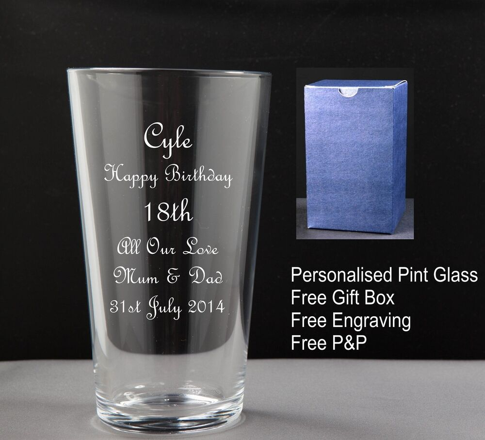 Personalised Pint Glass Birthday Gift 18th,21st 30th 40th