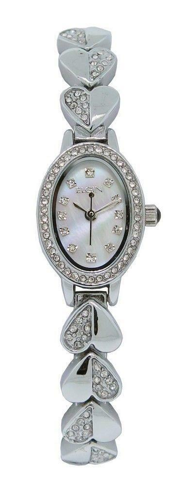 Watch Mom In Bedroom Camera: Elgin EG9030ST Women's Mother Of Pearl Crystal Analog
