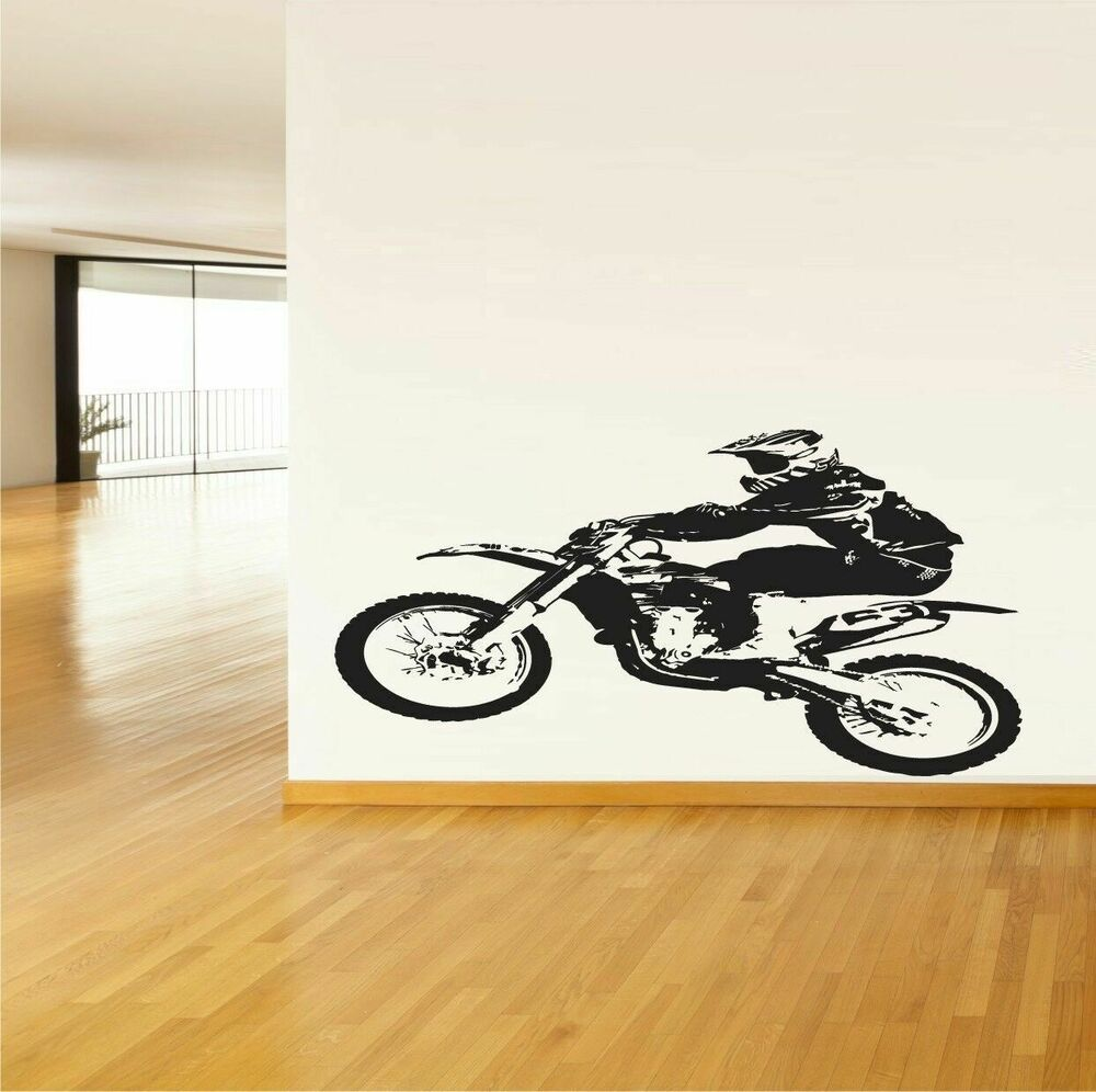 Wall vinyl sticker decal mural design dirt bike racer for Dirt bike wall mural