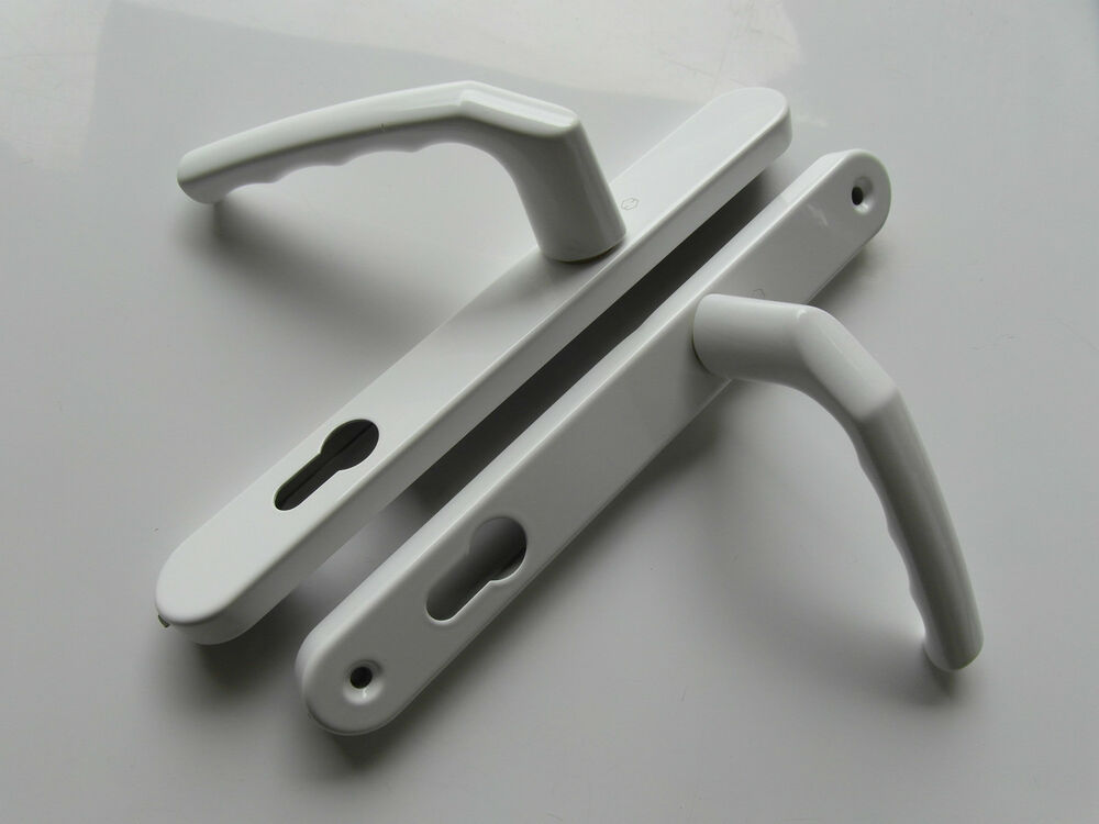 Hoppe white pz92 215mm screw centres inline handles for for Upvc french door handles