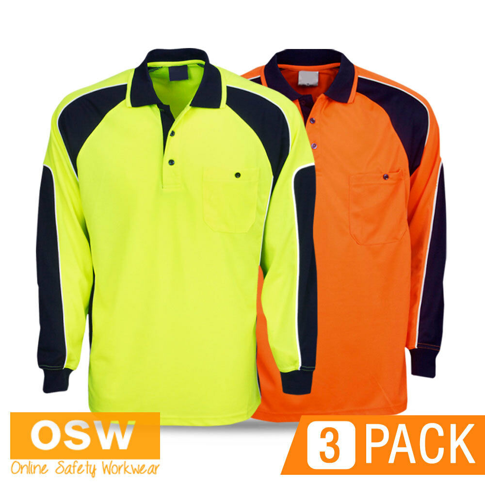 3 x hi vis cool breeze yellow orange long sleeve polo work for Hi vis safety shirts