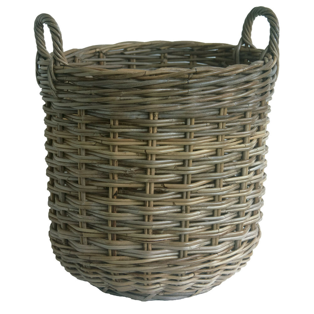Wicker Log Basket With Handles : Round shaped grey rattan wicker log basket with handles