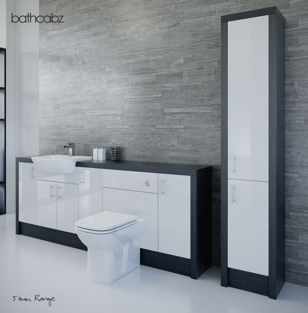 hacianda black bathroom fitted furniture 2200mm with tall