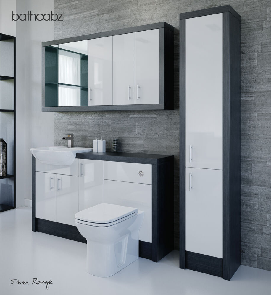 hacianda black bathroom fitted furniture 1500mm with wall. Black Bedroom Furniture Sets. Home Design Ideas