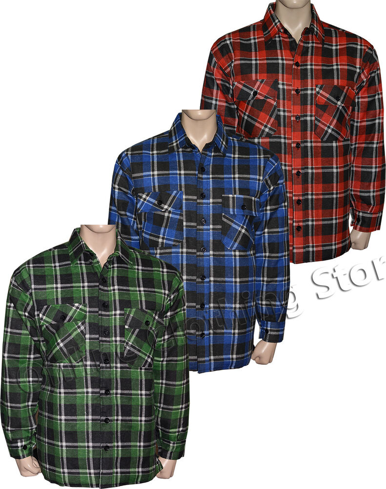 Mens padded quilted lumberjack check flannel work shirt for Mens insulated flannel shirts