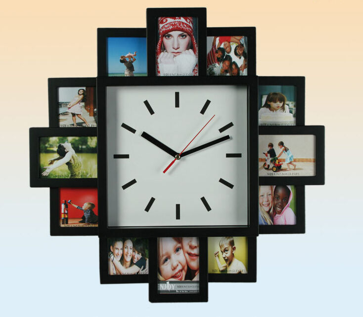 multi photo family 12 picture frame time wall clock black hanging