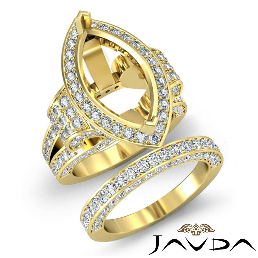 Diamond engagement ring marquise bridal sets 18k gold for 18k gold wedding ring set