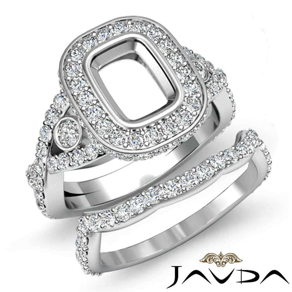 wedding ring settings cushion engagement pave ring bridal sets platinum 1000