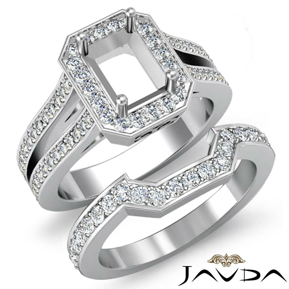 Diamond Engagement Pave Setting Ring Emerald Bridal Sets