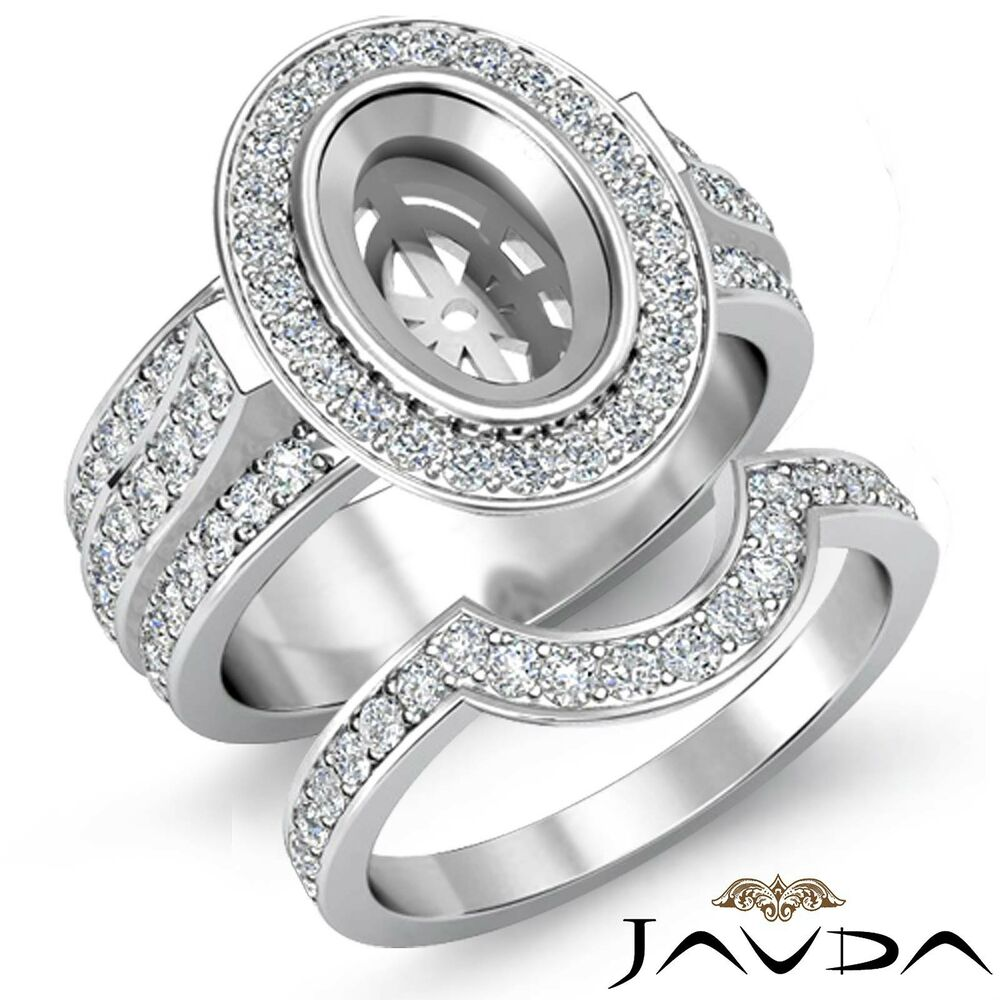 platinum wedding ring sets engagement pave ring bridal sets platinum 950 oval 6635