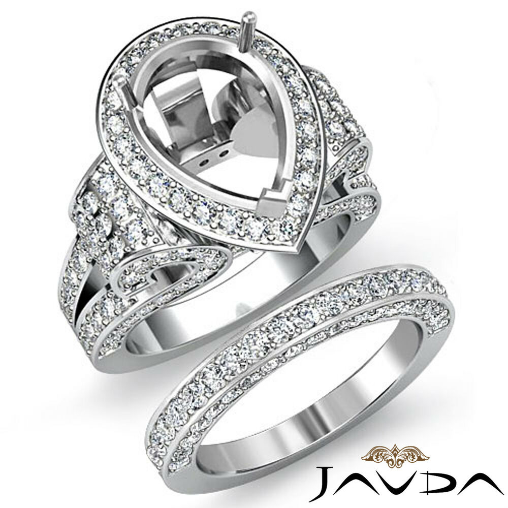 Diamond Engagement Ring Pear Pave Bridal Sets Semi Mount