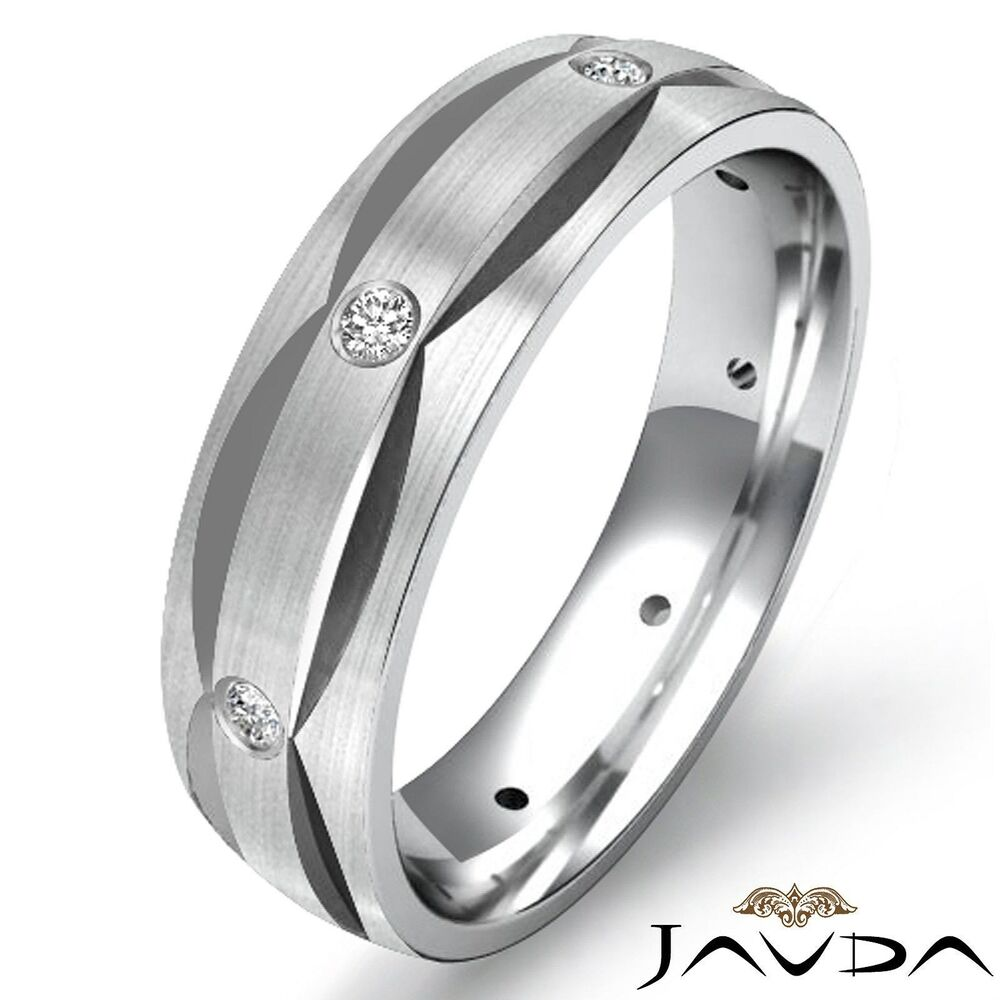 Round bezel diamond dome eternity wedding mens band ring for Men wedding bands white gold