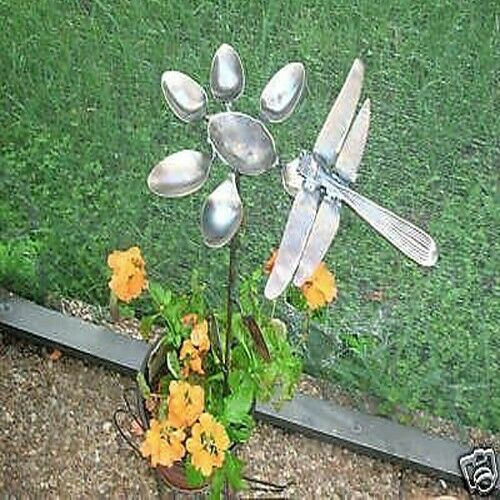 Two Handcrafted Metal Dragonfly Amp Spoon Flower Yard Art