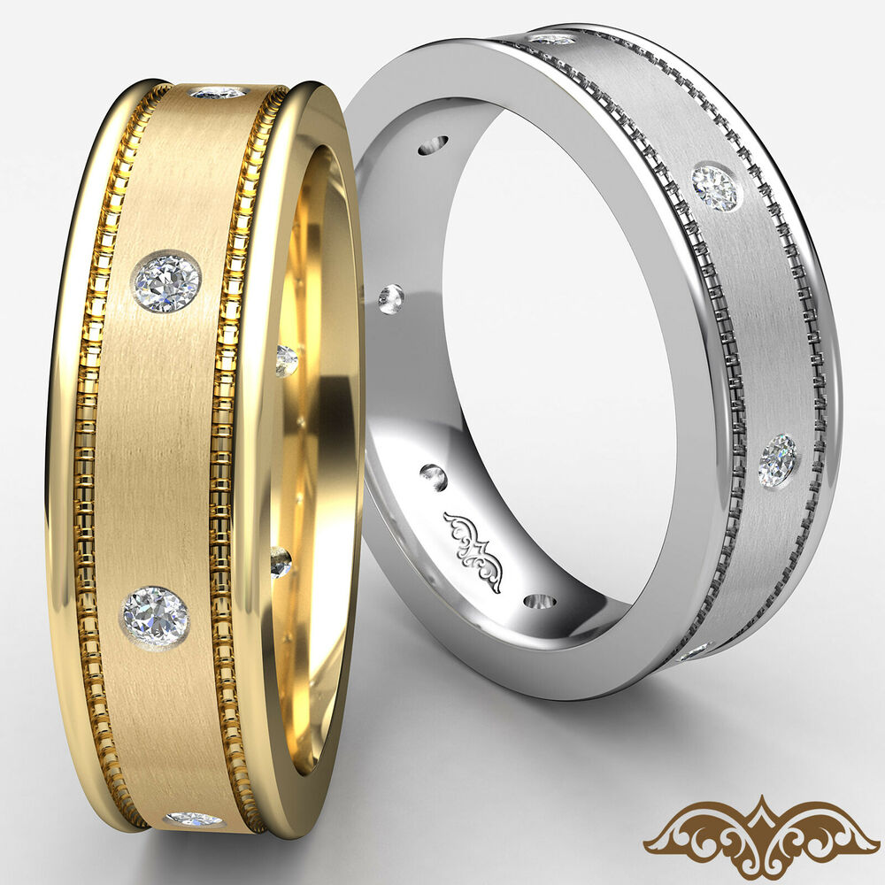 Round diamond mens solid ring 14k yellow gold eternity for Mens eternity wedding band