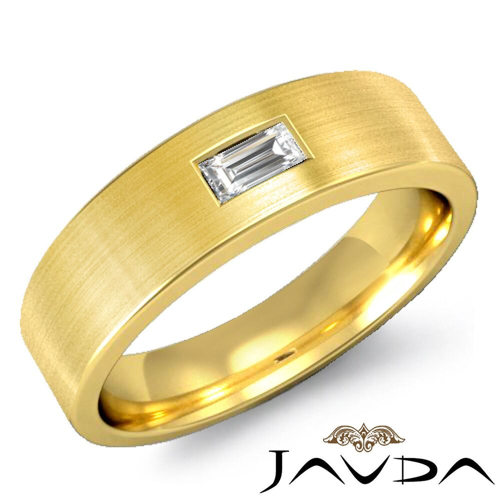 solitaire baguette diamond mens wedding band 14k yellow gold ring ebay. Black Bedroom Furniture Sets. Home Design Ideas