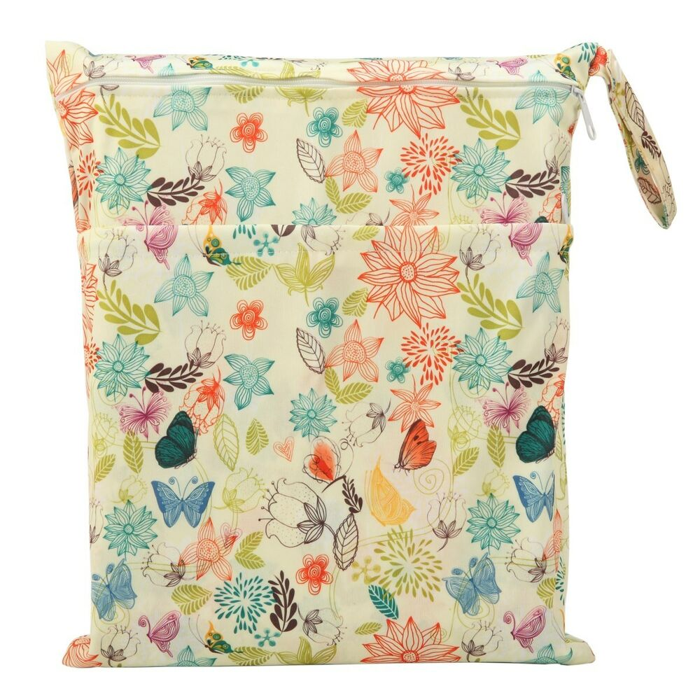 1 wet dry bag baby cloth diaper nappy bag reusable bloom two zippers ebay. Black Bedroom Furniture Sets. Home Design Ideas
