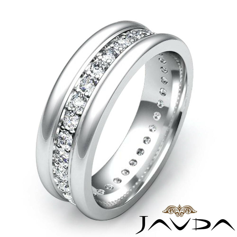 pave round diamond solid ring 18k white gold mens eternity