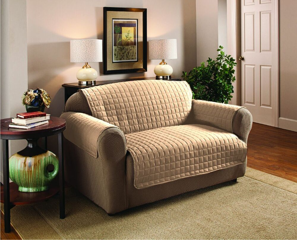quilted microfiber pet dog couch sofa furniture protector cover 5 colors beige ebay. Black Bedroom Furniture Sets. Home Design Ideas