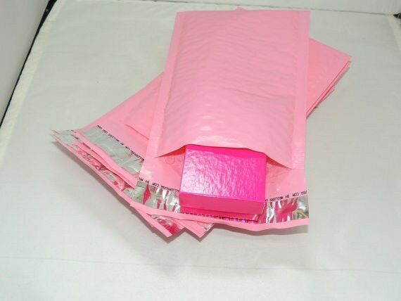 100 Pastel Pink 4x8 Bubble Mailers, Wholesale Padded Shipping