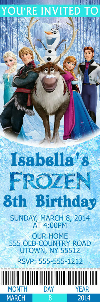 printed frozen movie custom birthday party ticket