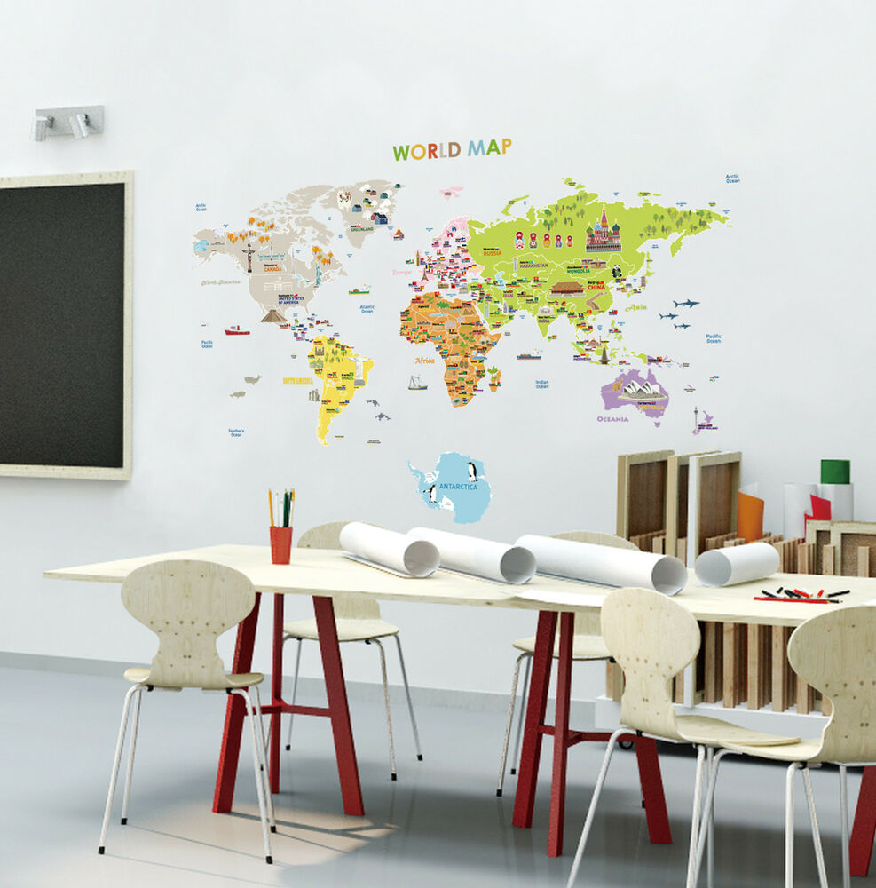 World Map Home Decor Illustrated World Map Removable Wall Decal Sticker Kid Map Nursery