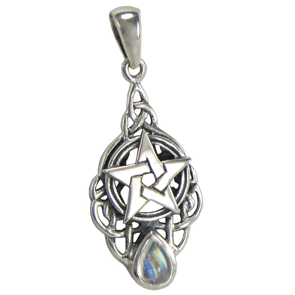 Sterling Silver Triquetra Knot Celtic Pentacle Drop ...